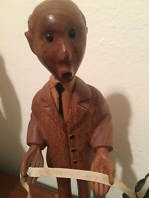 Mid Century Statue Carved Wood Romer Stock Broker Very Good Condition