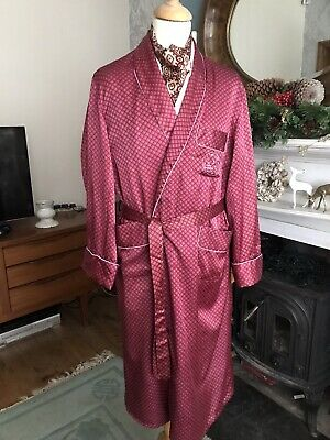 "Vintage Red Gown robe smoking jacket Pyjamas Set  42/44"" chest art deco dandy"