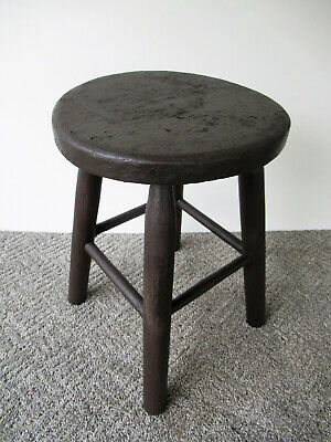 "Antique Stool Primitive Vintage Pine Wood 17"" Tall 12"" Diameter Seat Brown Paint"