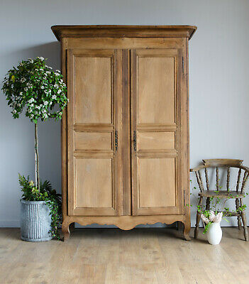 French Antique 19th Century Oak Armoire Wardrobe with Shelf and Hanging Rail