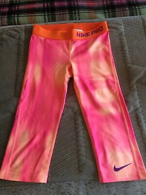 Nike Pro Girls Orange 3/4 Leggings Size M Age 10
