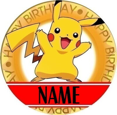 Personalised ANY Name//Age Pokemon//Pikachu//Game Birthday Badge Party Boy//Girl
