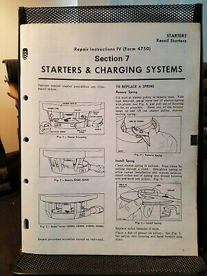 Briggs & Stratton Starters & Charging Repair Manual IV Form 4750 circa 1970