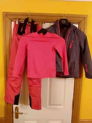 Crane girls ski jacket, salopettes & base layer age 9-10 in very good condition