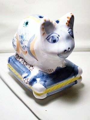 Hand Painted Ceramic Pottery Cat Flower Frog Made in Portugal