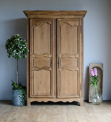 French Antique 19C Oak Armoire Wardrobe Linen Press Cupboard Cabinet 4 Shelves