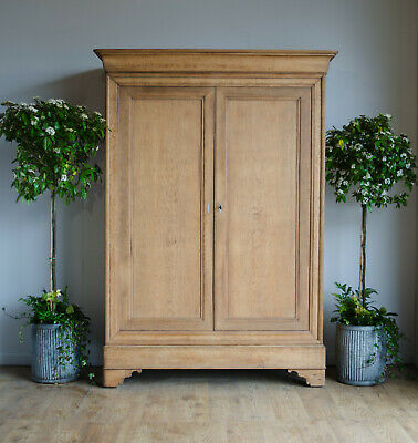 French Antique Louis Philippe Knockdown Oak Wardrobe Linen Press Shelves Drawers