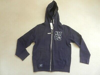 BNWT Next Boys Navy Blue Zip Up Hooded Sweatshirt Jumper Hoodie Age 10 Years