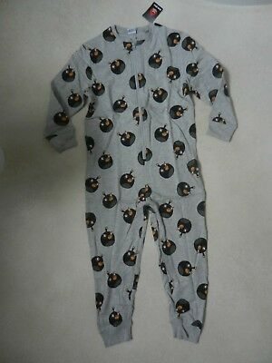 BNWT Next Boys Angry Birds Black Bomb PJ's All In One Pyjama's Age 9 Years