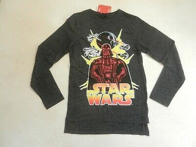 BNWT Next Boys Black Marl Long Sleeve Star Wars T-Shirt Age 12 Years Darth Vader