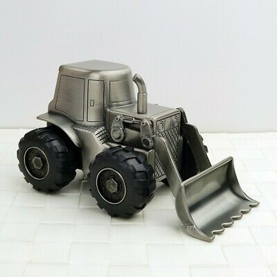 Baby Money Box Pewter Digger Front Loader | Christening Gift