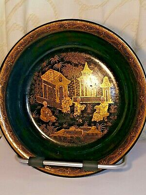 Antique Chinese Export  Black Laquer Bowl Hand Painted Paper Mache Gold Scene