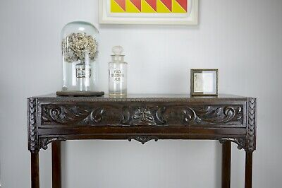 Antique Vintage Old Pussy Oak Carved Green Man Hall Side Table Gothic