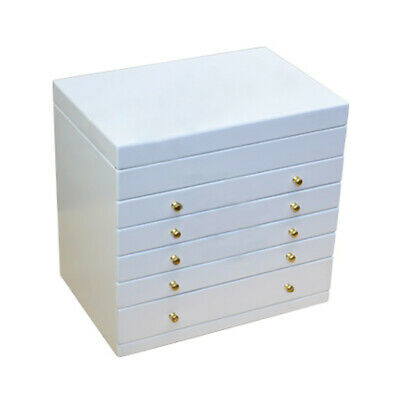 Extra Large Jewellery Box white brown wood storage display case ring jewelry