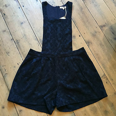 Marks and Spencer M&S Angel Girls Navy Floral Jacquard Print Playsuit Large BN