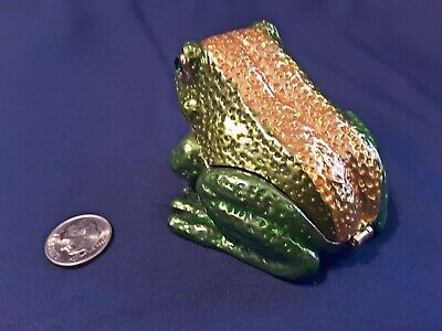 Frog Amphibian Toad Jeweled Eyes Trinket Box Crystals Metal Solid Compact