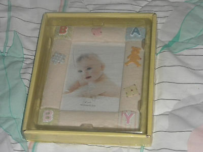 "Baby Picture Frame - For 4"" x 6"" Photo  - Yellow With Pink & Blue Letters"