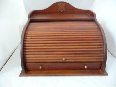VINTAGE MAHOGANY ROLL TOP DOCUMENT/STATIONERY BOX w/ BRASS HANDLES GOLF INTEREST