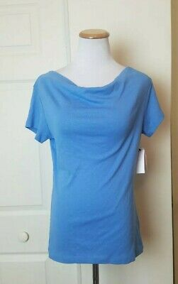 NWT Philosophy Republic Clothing Shirt Sz Medium Blue Cowl Neck Top Women Casual