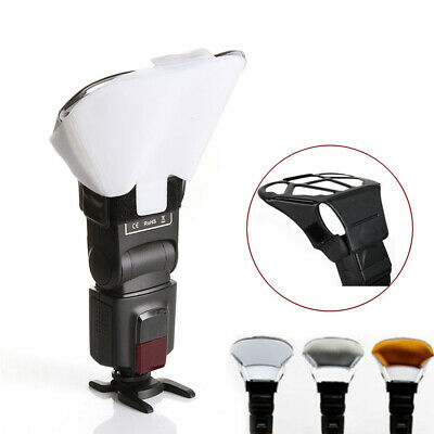 KE_ Universal Speedlight Flash Light Bounce Diffuser+3 Colors Reflector Cards