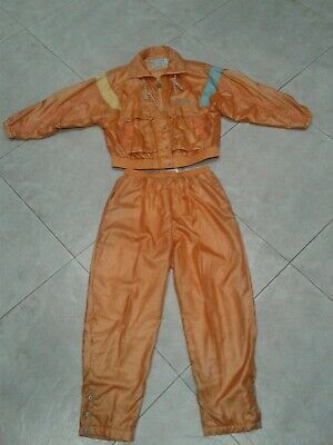Vintage 80s IXSPA Silky Peach Track Suit Windbreaker Jacket Pant Set Retro LARGE