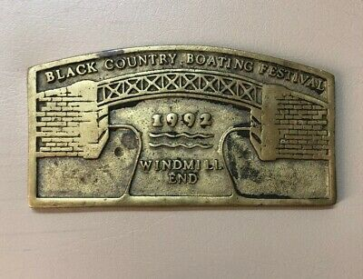 Solid Brass 1992 Black Country Boat Windmill End Plaque Maritime Boat Ship Decor