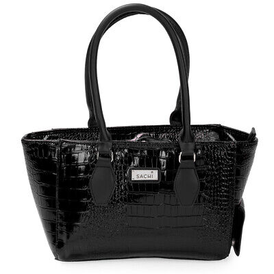 NEW Sachi Wine Cask Tote Crocodile Black