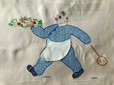 Vintage Novelty Kitchen Curtain, Hand-Embroidery, Cooking
