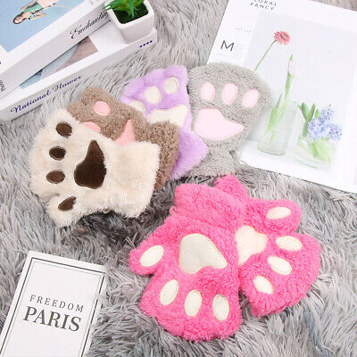 Girl Winter Warm Plush Fluffy Children Gloves Mittens Fingerless Cat Paw