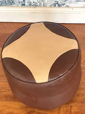 Vintage/retro Faux Leather Brown & Cream Foot Stool/pouffee/1960's/70's Decor