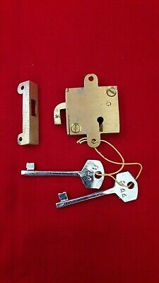 Unused Shutter Cabin Drawer Small Box Cabinet Door Lock & Key Antique Vintage
