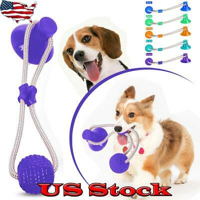 Dog Toys Chew Tooth Cleaning Pet Molar Bite Tug Rope Ball With Suction Cup Safe