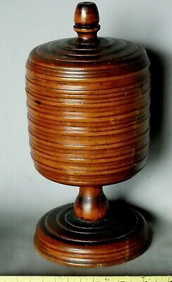Rare Antique Treen Wassail cup goblet mahogany 17th / 18th century turned lidded