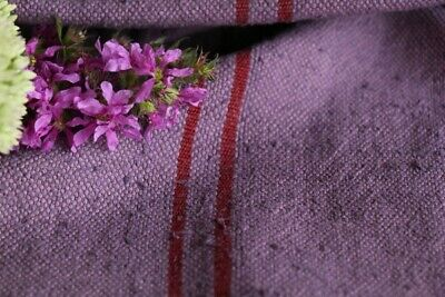 F 890 antique dyed french linen grain sack grainsack purple strawberry red