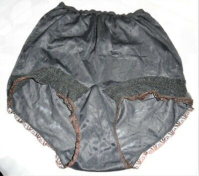 Vintage Nylon Panties Mushroom gusset size 7 Hips 38-40 lace trim high waist @@
