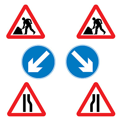 Chapter 8 Road Works Cone Signs 750mm SET OF 6