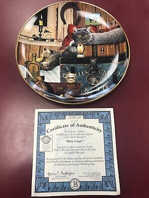 """2001 Bradford Exchange Purr-Fect Pairs Cat Plate """"Kitty Cargo"""" With Certificate"""