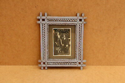 Old Antique Primitive Wooden Wood Photo Frame Hand Carved Rustic Early 20th