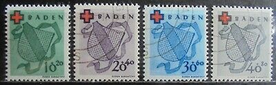 ALLIED OCCUPATION 1949 Baden, Red Cross Fund, Set of 4 Cancelled