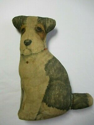 Litho Cloth Stuffed Terrier Dog Antique Primitive Fabric Arnold Print Works?