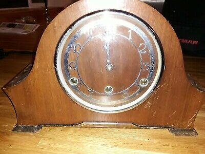 Vintage Napoleon Hat Style Wooden Mantle Clock - Very Good Condition