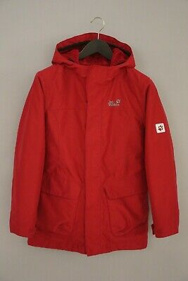 Girls Boys Youth Jack Wolfskin Texapore Jacket Breathable Red M 154/158 Z69