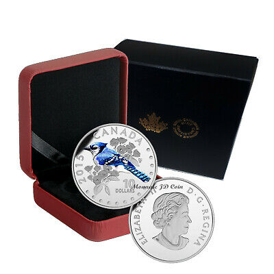 2015 Canada $10 Colorful Songbirds The Blue Jay Fine Silver Coin  (142)