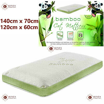 4 inch Baby Kids Cot Mattress Bamboo Memory Foam Zipped Removable Cover New 10cm
