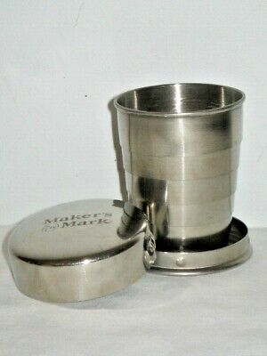 Makers Mark Stainless Steele Collapsible Nip Cup With Lid Keyring Keychain 5cm