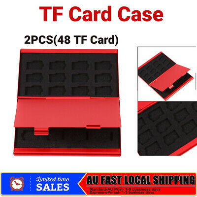 2PCS Aluminum Memory TF SD Card Storage Case Box Holder For 24 TF Cards Red AU