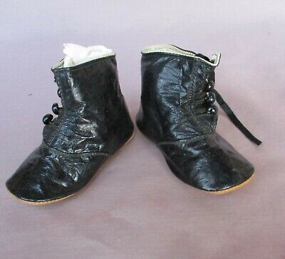Antique Black Patent Leather Child's High 4 Button Shoes EXC
