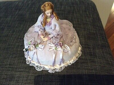 Bed Doll/Pin Cushion Vintage Style Purple Lace New