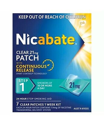 Nicabate Patches-Clear-21mg. 7 Patches.ONE WEEKS SUPPLY!