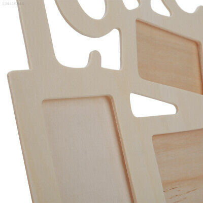 71E4 Lovely Hollow Love Wooden Family Photo Frame White Base DIY Home Decor